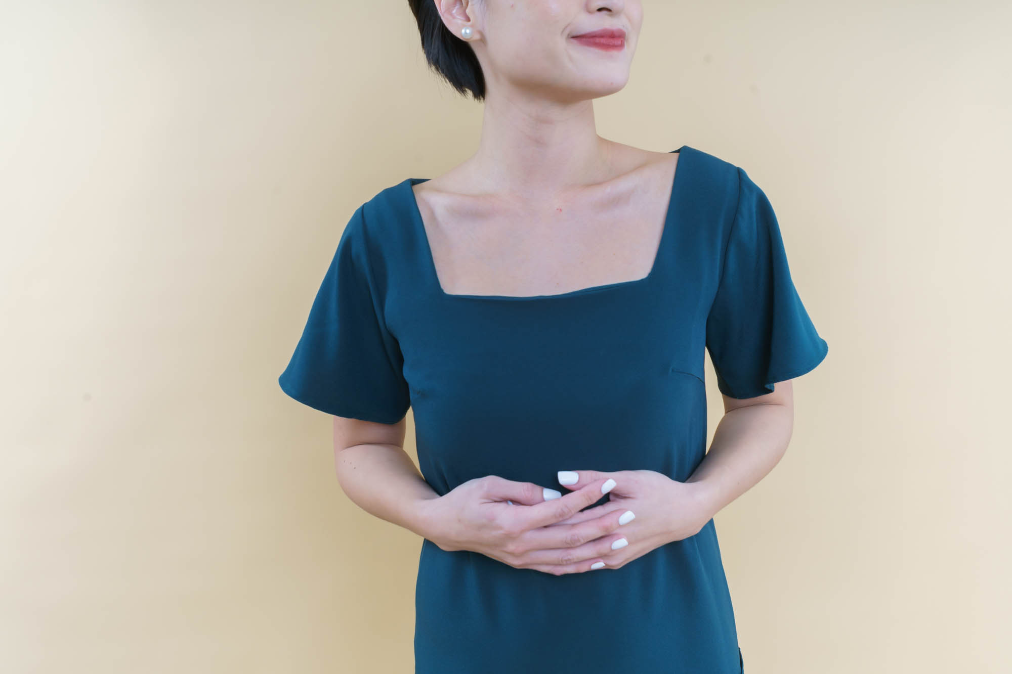 square neckline with sleeves