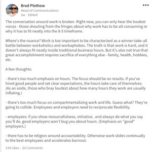 LinkedIn status update from Brad Plothow discussing the conversation about work and flexibility as featured in work life balance post on mariedevaux.com, career and legacy coach website