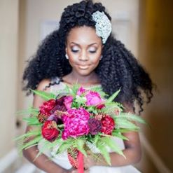 image of beautiful black bride with natural hair is the icon on @luxeleblanc on Instagram a great example that Marie Deveaux career coach shares about utrning multiple passions into a viable business during her September Self Improvement live session on IG