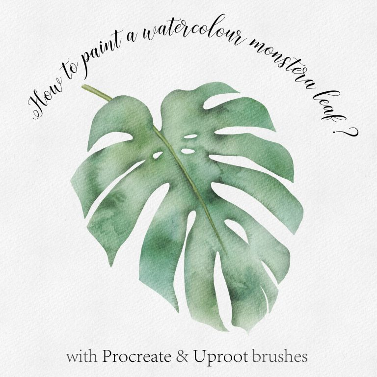 Free tuto watercolor on Procreate : How to paint Monstera leaf ? Tuto gratuit : Comment peindre une feuille Monstera à l'aquarelle avec Procreate ?