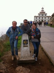 Posing in Finisterre (meaning 'the end of the world') with my Dad and my brother