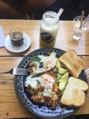 Hostal Ondas, enjoying our first delicious breakfast