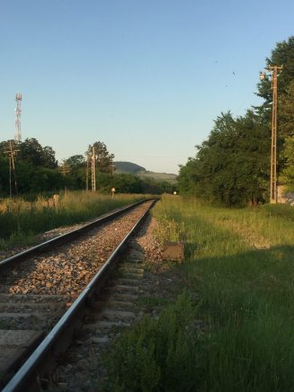 A railway at sunset