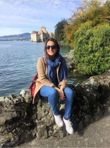 Posing with the Chillon castle in the background