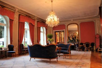 One of the elegant salons at the Victoria Jungfrau Hotel