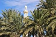 Minaret and palm trees
