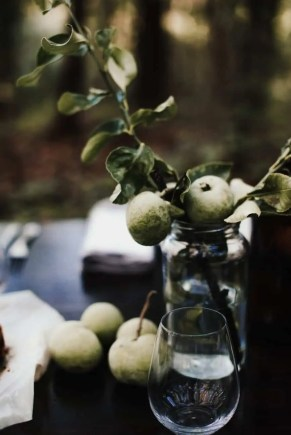 branch with fresh apples in glass vase