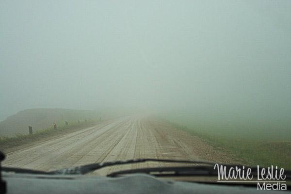 Badlands in fog