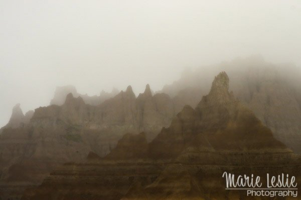 badlands national park in fog