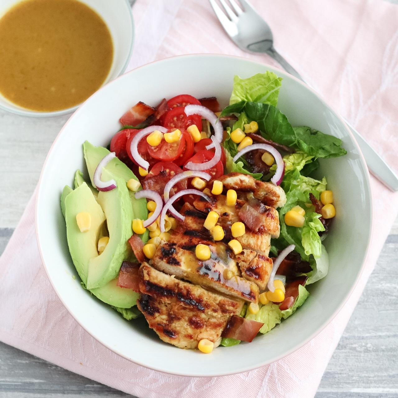 Welp Honing-mosterd salade met kip en avocado - Mariëlle in de Keuken PC-92