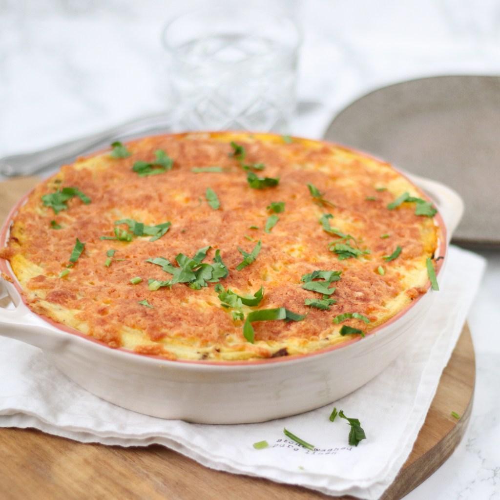 Preischotel met gehakt en aardappelpuree