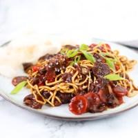 Beef Teriyaki noodles uit de slowcooker