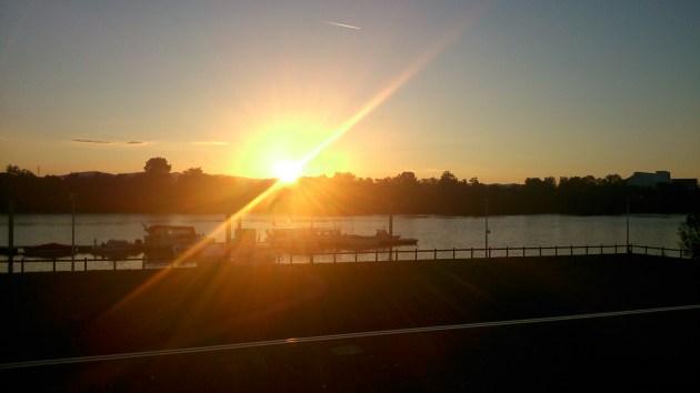 Couche de soleil sur la Saône