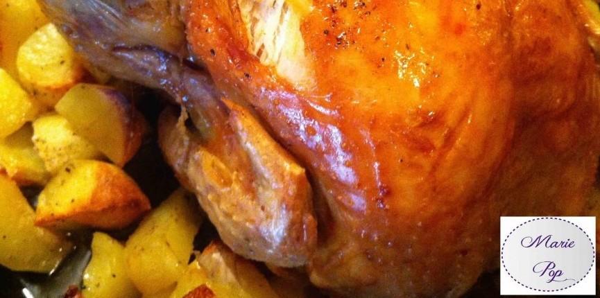 recette poulet rôti à l'ail et aux pommes de terre
