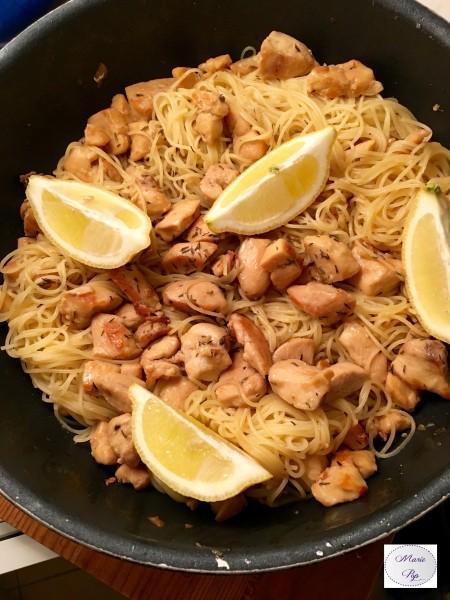 Poulet au citron et miel avec ses capellinis - la recette