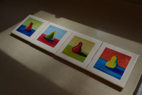 Petite Pear Coasters • 4 inches x 4 inches • 4/500