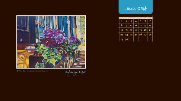 HYDRANGEA BOXES • ©2014 Marie Scott [feel free to download this calendar and use it on your computer desktop for the month of June, 2014! ]