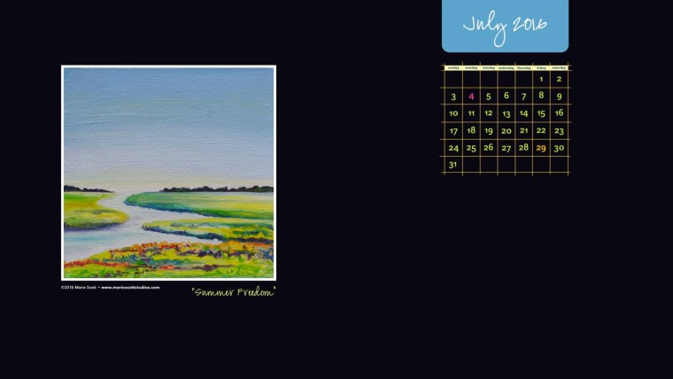 July 2016 Desktop Calendar