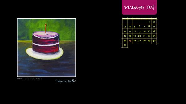 DECEMBER 2017 Desktop Calendar 600