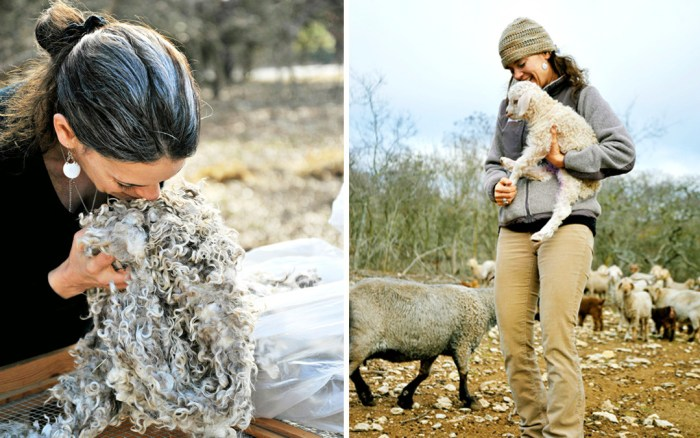Marie Spaulding of Living Felt sourcing freshly sheared mohair from a regional farm