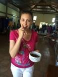 Enjoying silk worms in Da Lat, Vietnam
