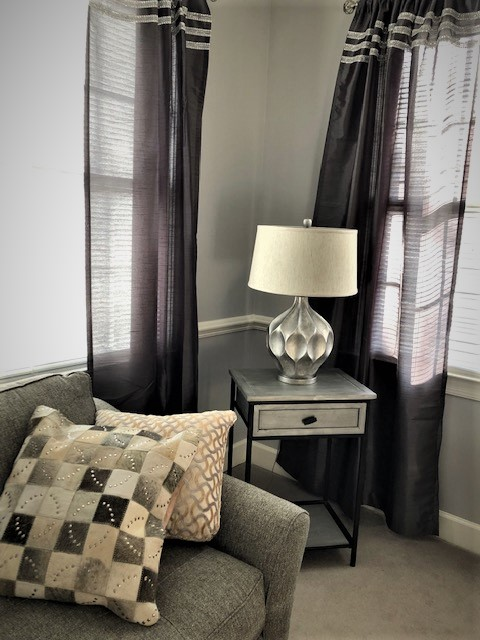 Pillows and lamp