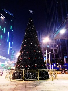 The biggest Christmas tree we've seen in China. This is right near Xinghai Square; the metro stop we live near