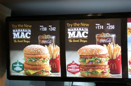 Their Big Macs here don't have beef in them (because...well...India), so instead they have jalepeno peppers and chicken