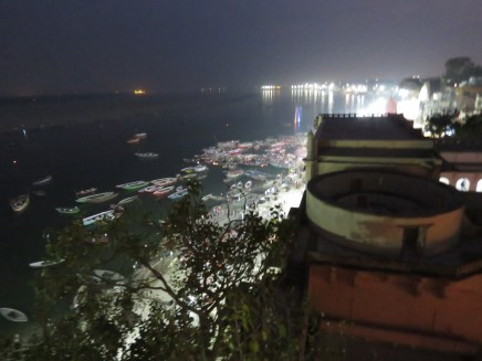 Boats sit on the Ganges while spectators watch the 'special' ceremony that is done every night...