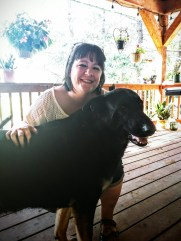 Sitting out on the deck with our dear neighbor Yvonne and her fabulous puppy, Brodey!
