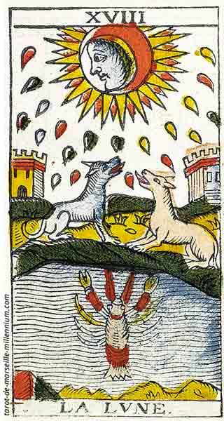 Carta de Tarot de Marsella XVIII La Luna en marifranstarot.com