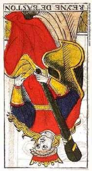 Carta de Tarot de Marsella Pierre Madenié Reina de Bastos (invertida)tarot evolutivo tarot terapéutico