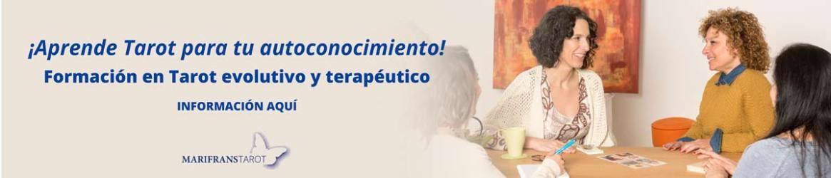 Banner aprende Tarot con Marifrans Tarot. Tarot evolutivo y terapéutico para tu autoconocimiento