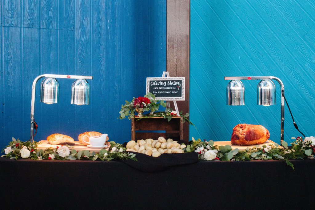 Marigold Events LA | Santa Monica Pier Holiday Party, Beautiful Carving Station, Floral Garland