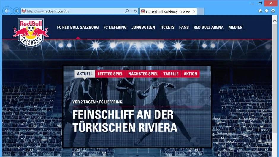 Red Bull Salzburg mit neuer Seite