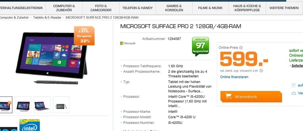 Surface Pro 2 bei Saturn deutlich günstiger!