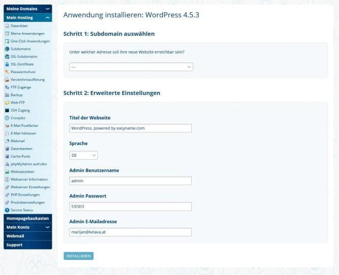 Wordpress installieren die Zweite