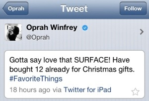 Tweet Oprah Winfrey over Microsoft Surface via Apple iPad