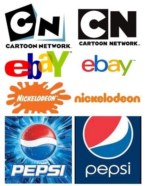 Gestreken logo's, Nickelodeon, Cartoon Network, Pepsi, eBay