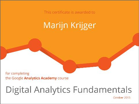 Diploma behaald Digital Analytics Fundamentals