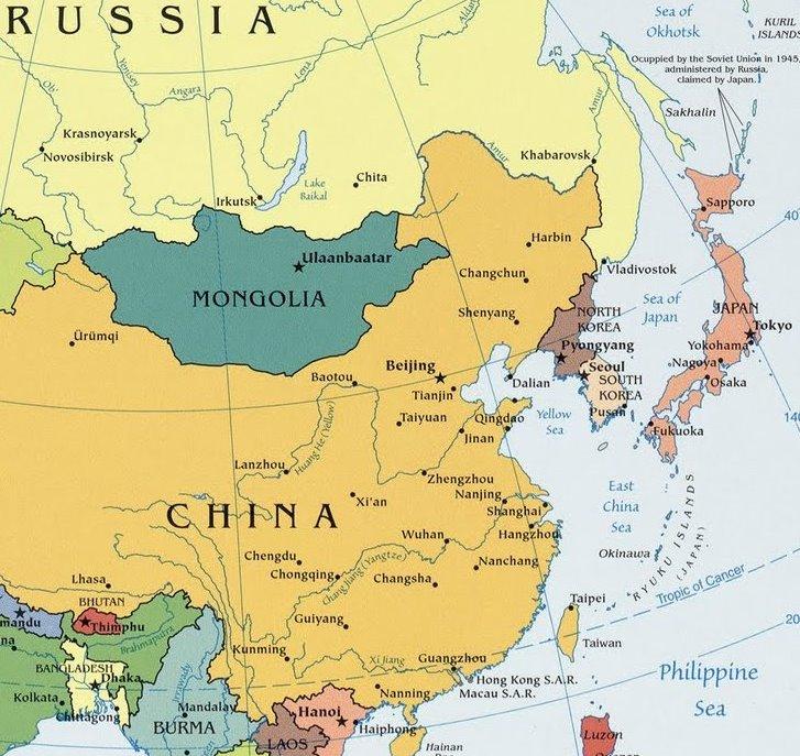 Voor de Koreaanse oorlog. Noord-Korea, kaart van Azië