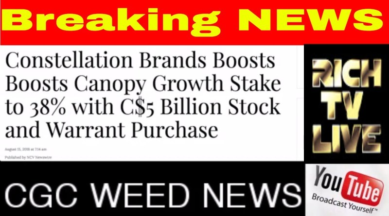 Canopy Growth Corp Nyse Cgc Tsx Weed 5 Billion Boost From