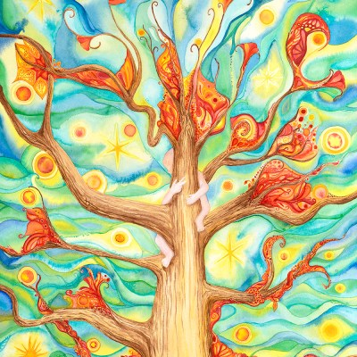 "Magic Tree (C) Marika Reinke 2015 Watercolor 24"" x 18"""