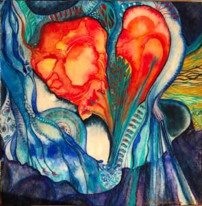 """My Heart is Gonna (c) Marika Reinke Watercolor 8"""" x8"""" 2017"""