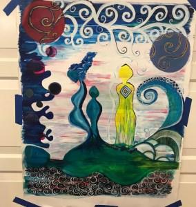 Ladies work in progress acrylic on watercolor paper
