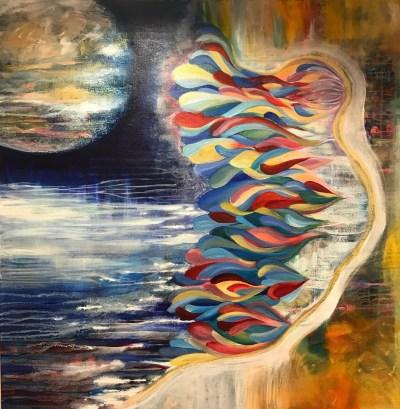 "Falling Into Grace (c) Marika Reinke 2019 Acrylic 36"" x 36"""
