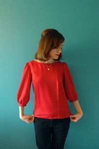 Red button back blouse 3
