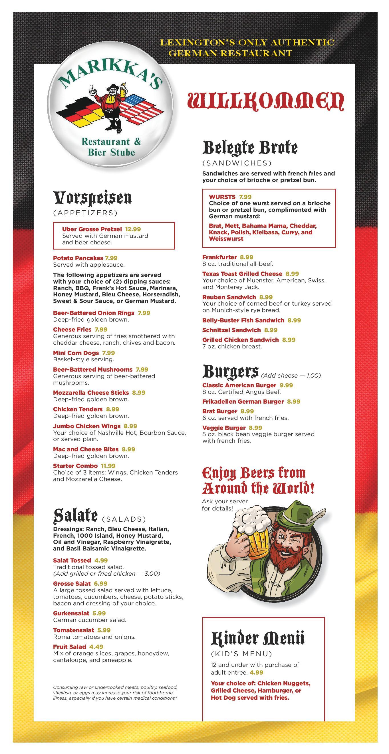 Marikkas German Food Menu Lexington