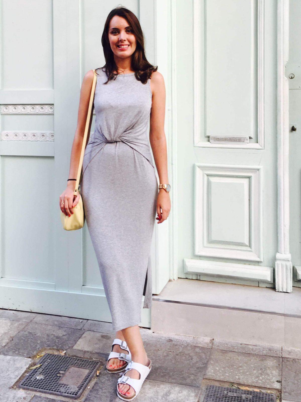 marikowskaya street style monica vestido gris largo (2)