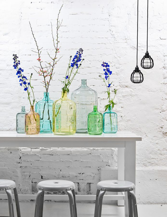 colored vases and wild flowers make ME happy. What is your happiness? Photo from decor8blog.com